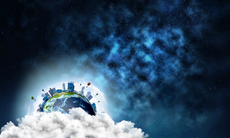Abstract image of space view at planet Earth in clouds with buildings and aerostats. Dark space haze on