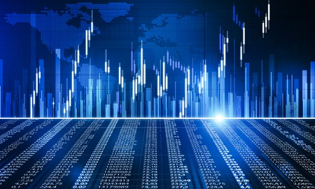 Background image with candle graph chart of stock market and trading