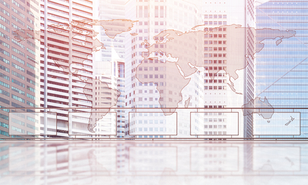 Empty balcony with glass parapet over modern cityscape and sunrise above buildings Stock Photo