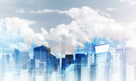 Double exposure of modern cityscape view with digital media interface. Wallpaper, backdrop with copyspace.