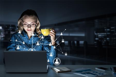 Beautiful girl looking in glowing laptop screen. 3d rendering