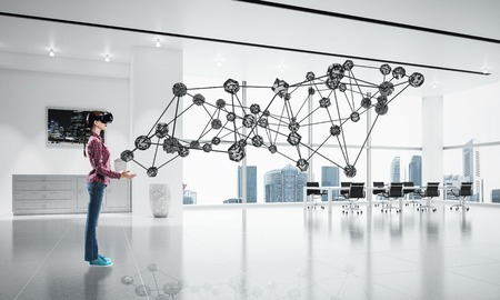 Young woman in casual wearing virtual helmet and working with connection concept. 3d rendering