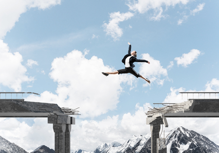 Business woman jumping over huge gap in concrete bridge as symbol of overcoming challenges. Skyscape and nature view on background. 3D rendering.