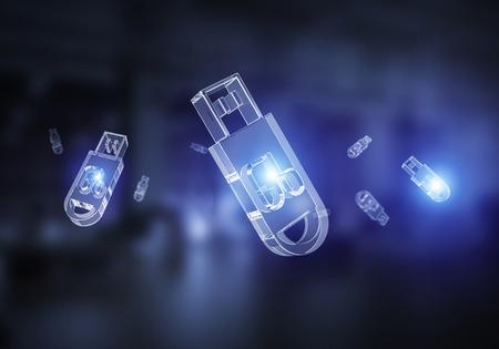 Glass usb icons flying on dark background. Mixed media