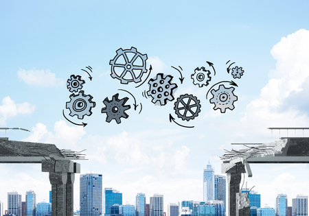 Sketched gear mechanism over gap in concrete bridge as symbol of teamwork and problem solving. Cityscape on background. 3D rendering. Stockfoto - 111866128