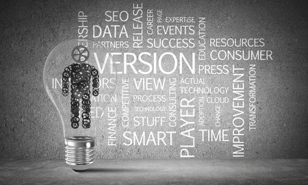 Glass lightbulb with human from gears inside against business related terms on grey wall on background. 3D rendering.