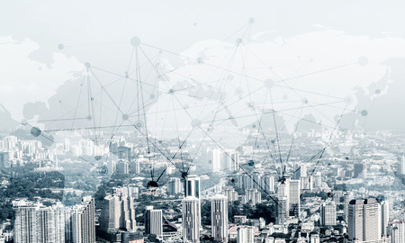 Double exposure of modern cityscape view with digital media interface of networking structure. Wallpaper, backdrop with . Stock Photo
