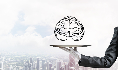 Cropped image of waitresss hand in white glove presenting sketched brains on metal tray with cityscape view on background. 3D rendering.