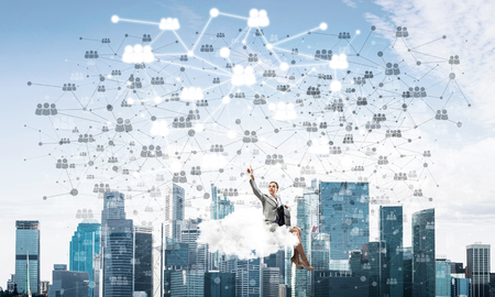 Businesswoman sit on cloud over city and pointing connection concept. 3d rendering