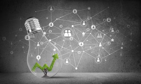 Glühlampe mit dem grünen wachsenden Diagramminnere gesetzt gegen skizziertes System des Sozialen Netzes auf graue Wand. 3D-Rendering.