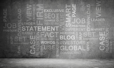 Modern business keywords and terms collage on dark grey wall on background. 3D rendering.