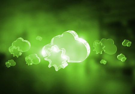 Glass cloud icon as concept for cloud computing on interior background. Mixed media Stock Photo