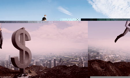 Jumping businessman in smart casual wear crashing big dollar symbol with city view on background.