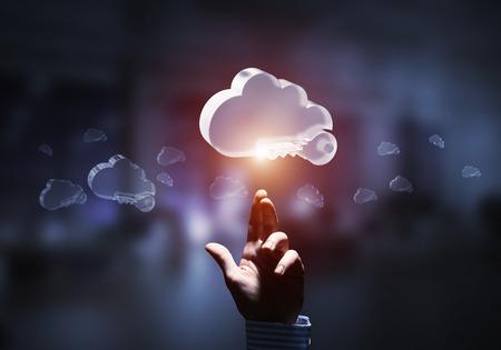 Close of businessman hands touching glass cloud computing concept. Mixed media Stok Fotoğraf