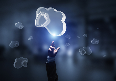 Close of businessman hand touching glass cloud computing concept. Mixed media Stok Fotoğraf
