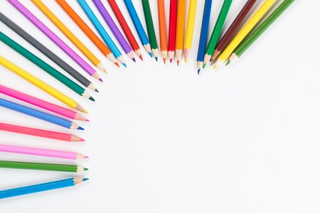 Color pencils with copy space on white background as education concept