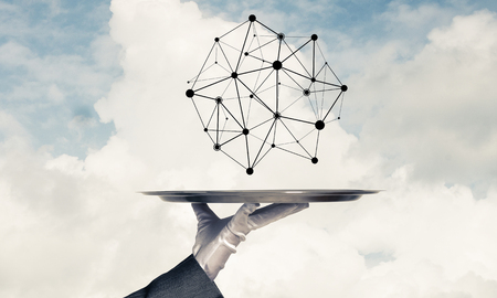 Cropped image of waitresss hand in white glove presenting black social media network structure on metal tray with cloudy skyscape on background. 3D rendering. Stock Photo