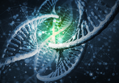 Background image with DNA molecule research concept