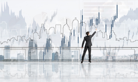 Young businessman in suit at balcony against morning cityscape background. 3d rendering Фото со стока