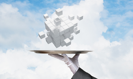 Cropped image of waiters hand in white glove presenting multiple cubes on metal tray with cloudy skyscape on background. 3D rendering. Reklamní fotografie