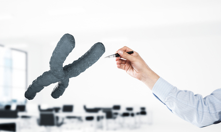 Close of businessman hand and dna molecule on interior background. Mixed media