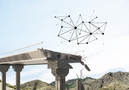 A gap in the concrete bridge with connection lines between as symbol of connectivity. 3d rendering Archivio Fotografico