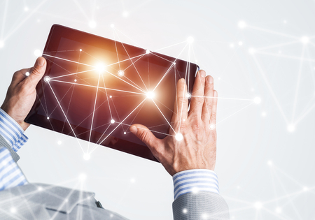 Close up of businessperson using digital tablet with blank display. 3d rendering