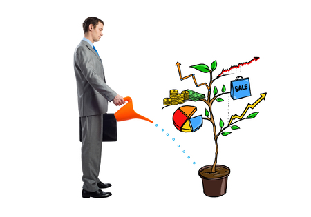 Businessman watering drawing tree consisted of infographic symbols isolated on white background. Planning and strategy of growth. Friendly ecosystem for company development. Consulting and assistance