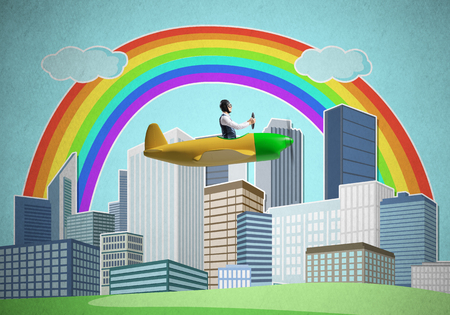 Businessman flying in small propeller plane above metropolis. Aviator driving retro airplane on background of city. Cityscape with high skyscrapers and colorful rainbow. Flying dreams concept