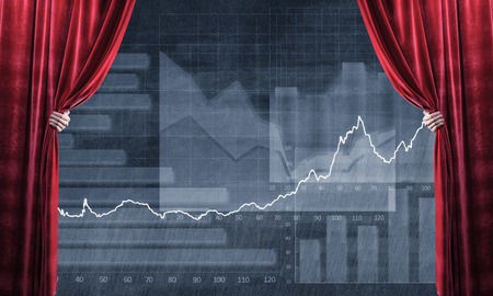 Close up of businessman hand open red velvet curtain to infographs