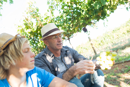 Senior man share its experience with guy in vineyard. People relationships and communication concept. Winegrower man in straw hat speaking with boy. Two generations of vintners together.