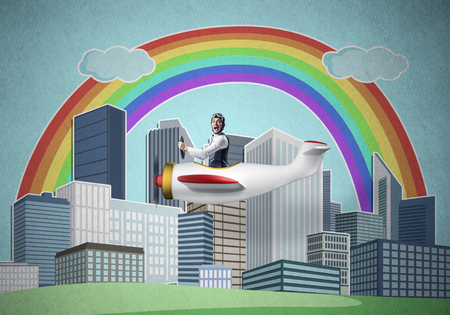 Businessman flying in small propeller plane above metropolis. Aviator driving retro airplane on background of city. Cityscape with high skyscrapers and colorful rainbow. Flying dreams concept Reklamní fotografie