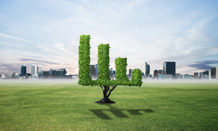 Green plant in shape of growth financial graph at green field. Business analytics and statistics. Friendly ecosystem for business and investment. Nature landscape with summer meadow and blue sky. 스톡 콘텐츠