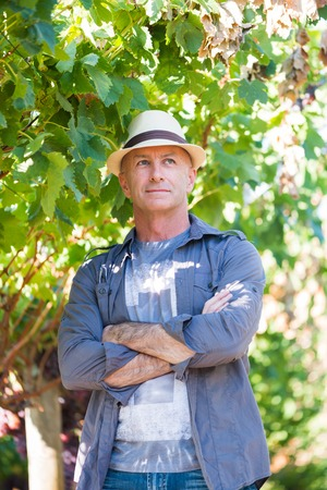 Successful winemaker at their vineyard. Handsome senior man in straw hat and shirt posing in garden. Traditional family winemaker business. Confident vintner with arms folded standing at vine row. Stock Photo