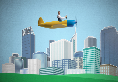 Businessman sitting in small propeller plane and flying above metropolis. Aviator driving retro airplane on background of city illustration. Cityscape with high skyscrapers and office buildings.