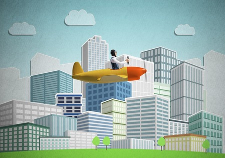 Aircraft pilot sitting in small propeller plane and holding steering wheel. Aviator driving retro airplane on background of city illustration. Cityscape with high skyscrapers and office buildings.