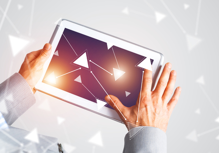 Close up of businessperson using digital tablet with blank display. 3d rendering Stock Photo