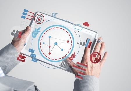 Cerca del empresario mediante tableta digital con pantalla en blanco. Representación 3d