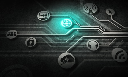 Digital background with social interaction and connection concept