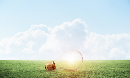 Glowing light bulb on green meadow. Electrical light bulb as symbol creative idea generation. Business innovation and inspiration. Nature landscape with green grass and blue sky.