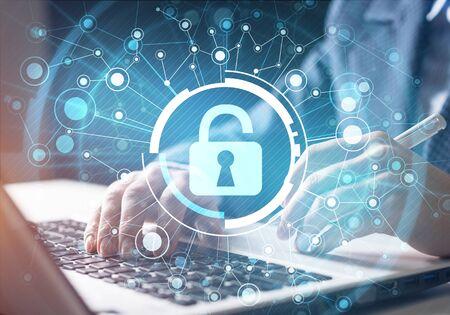 Digitale Cybersicherheit und Netzwerkschutz. Virtueller Sperrmechanismus für den Zugriff auf freigegebene Ressourcen. Interaktiver virtueller Kontrollbildschirm. Schützen Sie persönliche Daten und Privatsphäre vor Cyberangriffen und Hackern Standard-Bild