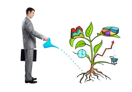 Entrepreneur watering drawing tree consisted of business infographic symbols isolated on white background. Planning and strategy of company growth. Man growing plant of wealth and success.