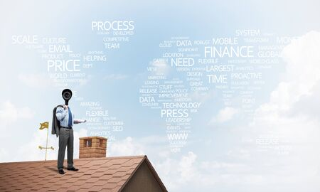 Faceless businessman with camera zoom instead of head standing on house roof 版權商用圖片 - 124758442