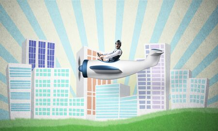 Emotional pilot sitting in small propeller plane. Aviator driving retro airplane on background of cartoon city illustration. Modern downtown with high skyscrapers and office buildings. Stockfoto