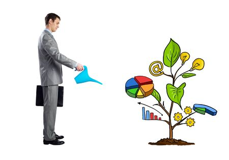 Businessman watering drawing tree consisted of infographics isolated on white background. Consultation and assistance services. Financial tree as symbol investment growth. Business idea development