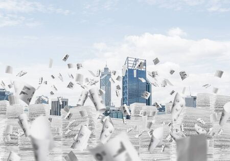 Horizontal shot of flying papers and piles of documents with cityscape on background. Mixed media.