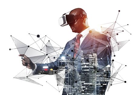 African businessman wearing VR headset using futuristic interface. Mixed media with 3d objects. Business model simulation and management. Mixed media with 3d objects. Social network connection model Фото со стока
