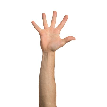 Adult man hand showing spread fingers gesture. Participation and voting sign. Human hand gesturing sign isolated on white background. Male raised arm presenting popular gesture.