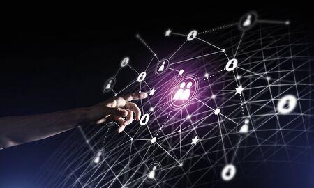 Image conceptuelle d'arrière-plan avec des lignes de connexion sociale sur fond sombre Banque d'images