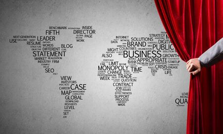 Close up of businessman hand open red velvet curtain